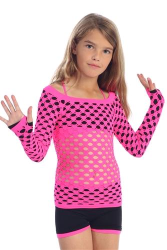 fa0150c664499 fishnet top, long sleeve dance top, kids dance top - You Go Girl ...
