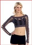 Crop Fishnet Long Sleeve Top