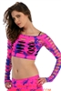 Tie Dye Crop Fishnet Long Sleeve Top