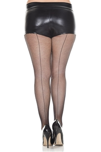 Adult Plus Size Fishnet Seamed Nylon Net Pantyhose