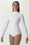 Plus Size Spandex Long Sleeve Adult Turtleneck Leotard in White- You Go Girl Dancewear