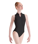 Motionwear Adult Long Torso Zip-Front Mock-T High-Cut Leotard