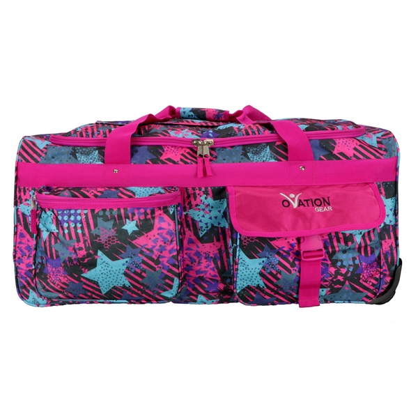 Ovation Gear Large Pink Blue Star Performance Dance Bag With Rack