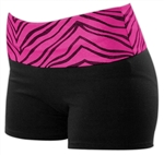 Pizzazz Adult Roll-Down Zebra Glitter Shorts - 2450 - You Go Girl Dancewear