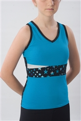 Pizzazz Child Body Basics Metallic Star Top with Keyhole Back - Style 5700SS - You Go Girl Dancewear