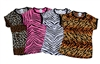 Pizzazz Adult Animal Print Raglan Cap Sleeve Tee - Style 6800AP - You Go Girl Dancewear