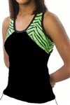 Pizzazz Child Tri-Color Zebra Glitter Top with X-back - Style 7700ZG - You Go Girl Dancewear