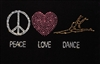 Heat Transfer Peace, Love, Dance - You Go Girl Dancewear