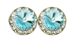 Aquamarine Rhinestone Solitaire in circle of Rhinestones - Performance Earrings - You Go Girl Dancewear