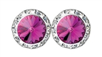 Fuchsia Rhinestone Solitaire in circle of Rhinestones - Performance Earrings - You Go Girl Dancewear