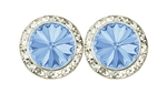 Light Sapphire Rhinestone Solitaire in circle of Rhinestones - Performance Earrings - You Go Girl Dancewear