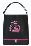 Sassi Designs BAL-05Black Ballet Tote (Black) With Bottom Shoe Compartment-Embroidered Shoes & Ribbons