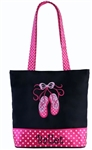 "Sassi Designs BAL-11 Sweet Delight small tote with embroidered ""Ballet"" and applique design"