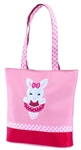 Sassi Designs BNY-01 Ballerina Bunny small tote with grosgrain ribbon trim and embroidered applique