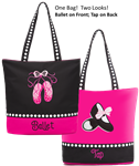 "Sassi Designs Ballet & Tap Combo Tote with embroidered ""Dance"" and Pointe Shoes - You Go Girl Dancewear"