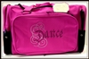 Sassi Designs CAL-02HtPink Sq Duffel with brilliant calligraphy rhinestone design