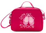 "Sassi Designs Sassi Designs Love 2 Dance Square Tote with embroidered ""Dance"" and Ballet Shoes - You Go Girl Dancewear"