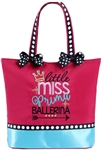 Sassi Designs LMP-01 Little Miss Prima Ballerina small tote; polka dot bows & crystalline accents