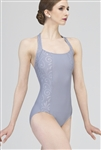 Wear Moi Adult  Halter Leotard w/ Embossed Mircofiber Details