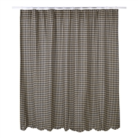 Black Check Scalloped Shower Curtain