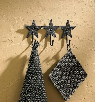 Punched Star Black Triple Hook