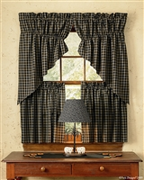 "Sturbridge - Black Lined Gathered Swags-Set of 2 72""x36"""