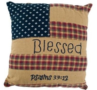 "Patriotic Patch Pillow Blessed 10"" x 10"""