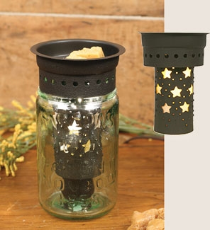 Pint Mason Jar Tart Warmer with Punched Stars
