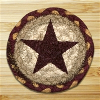 Burgundy Star Braided Coaster - Set of 4