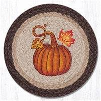 Round Trivet - Pumpkin Autumn Leaves