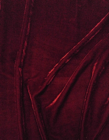 "Rayon Velvet in Burgundy, 46"" Wide."