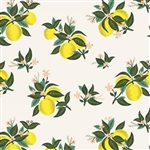 "Citrus Blossom - Lemon Rayon Fabric - 44/45"" wide"