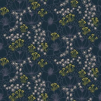 "Emilia Collection - ""Meghan"" Navy Cotton Fabric - 44/45"" wide"