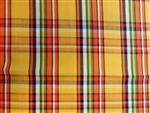 "Gold, Navy, Orange, Green and White Plaid Cotton, 58"" wide"