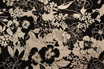"Black & White Floral Silk Charmeuse, 45"" wide"