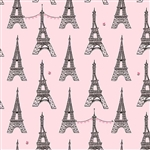 "Tour Eiffel on Pink, 44/45"" wide"