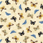 "Papillons in Beige, 44/45"" wide"
