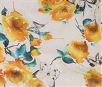 "Yellow Roses & Butterflies Linen, 54"" wide"