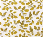 "Golden leaves on white, 55"" wide"
