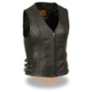 Women's Zipper Front Side Buckle Vest with V Neck