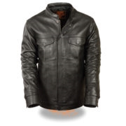 Men's Club Style Zipper/Snap Front Shirt Jacket