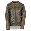 Women's Brown Distressed Scooter Jacket With Venting