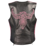 Women's Snap Front Vest with Phoenix Studding and Embroidery