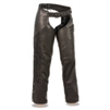 Ladies Lightweight Motorcycle Chaps with Crinkled Leg Striping