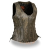 Women's Open Neck Side Lace Zipper Front Vest