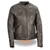 Women's LIghtweight Black Racer Jacket with Crinkled Arm Detail