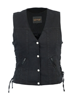Women's Single Back Panel Concealed Carry Denim Vest