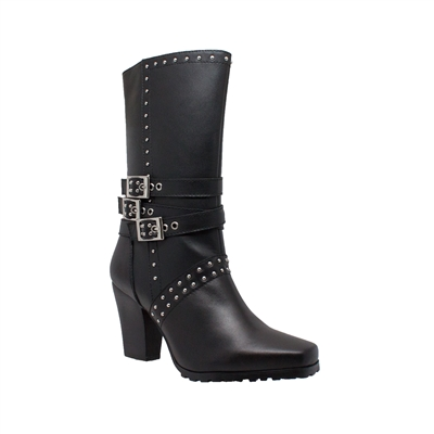 "12"" Full-Grain Leather Heeled Buckle Boot"
