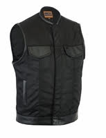 Men's Textile Club Style Concealment Vest With Leather Trim