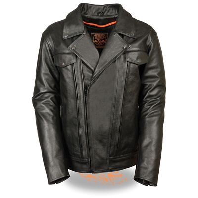 Men's TALL Leather Utility Pocket Vented Cruiser Jacket